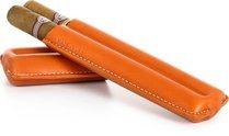 Reinhold Kühn, двойной сигарный чехол, стеганый, оранжевый цвет