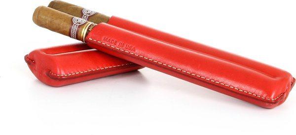 Reinhold Kühn, двойной сигарный чехол, стеганый, красный цвет