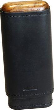 Черный футляр adorini для 2-3 сигар из натуральной кожи с деревянной верхней частью