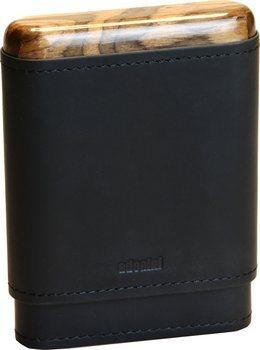 Черный футляр adorini на 3-5 сигар с деревянными верхней и нижней частями