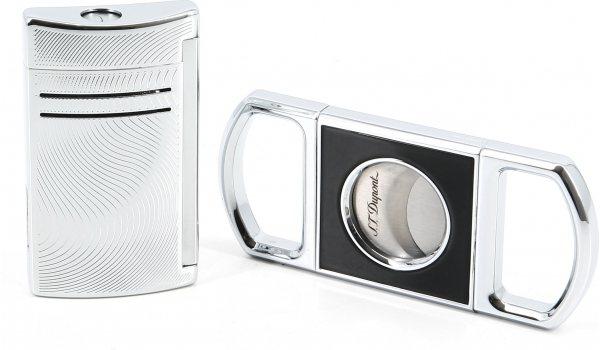 S.T. Dupont Подарочный набор, включающий хромированный сигарный резак и зажигалку Maxijet Vibration