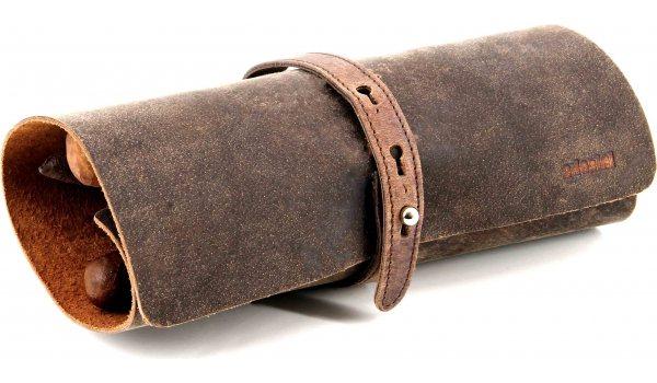 adorini переносной чехол для сигар из натуральной  кожи, коричневый
