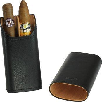 Футляр для сигары Adorini из натуральной кожи 2-3 сигары черный